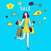Sale illustration with happy woman holding shopping bags.