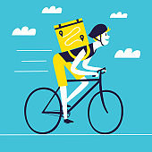 Cartoon cyclist with a square backpack delivey worker