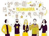 Brainstorm and teamwork doodle illustration with people