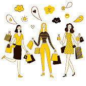 Doodle set of happy cartoon women with shopping bags