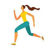 Beautiful woman runner on white background.
