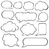 Set of retro empty comic speech bubbles