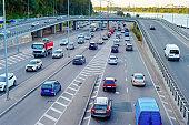 Cars, traffic instersection, Kyiv, Ukraine