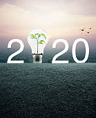 Happy new year 2020 energy conservation and environmental concept