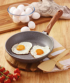 fried egg in the frying pan and tomatoes on the wooden table