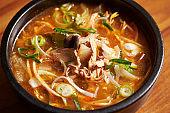 Korean pork and mushroom soup