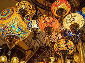 Brilliant Turkish glass lamps of Grand Bazaar in Istanbul, Turkey.