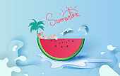Summer season concept Slice of watermelon on blue water splash.Hello Summer.Women are sunbathing. Dolphins are jumping from the water surface.Creative Paper cut and craft. Graphic vector. illustration