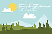 Flat scenery banner with empty space for your message