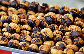 Tasty roasted chestnuts on the street kiosk