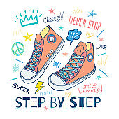 Never stop, step by step motivational slogan sneakers for t-shirt. Street fashion sport style shoes lettering doodles message. Hand drawn vector illustration.