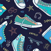 Seamless pattern sneakers for cover, textile, fabric, t shirt design. Street fashion sport style shoes lettering doodles message. Hand drawn vector illustration.