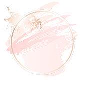 Golden pink nude art gift frames. Modern card design, brush stroke, lines, points, rose gold, premium brochure, flyer, invitation template. Beauty identity elegant style.