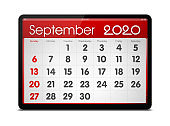 (Clipping path) September 2020 calendar on digital tablet isolated