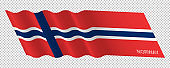 Vector flag of Norway waving background