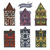 German houses cartoon collection urban landscape front view of European city street colorful building facades.