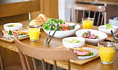 Breakfast served at the wooden table