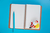 Blank spiral notebook and christmas decoration