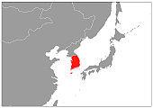 South Korea map on gray base