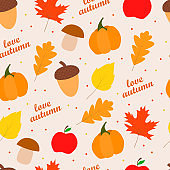 Seamless vector pattern of autumn icon symbols.