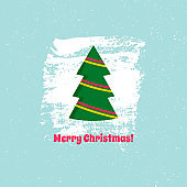 Christmas tree on blue background. Vector illustration.
