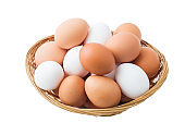 Chicken eggs in basket on isolated white background.