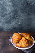 Freshly baked croissants on a plate, dark background, copy space.