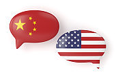 3d render of  USA and China flags on speech bubbles