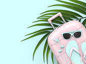 3d render of suitcase with vacation stuff over pastel blue background