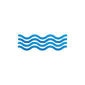 Waves outline icon, modern minimal flat design style. Wave thin line symbol, Vector illustration isolated on white background.