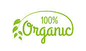 Organic logo or label. 100% Healthy food and product icon with green leaf. Vector illustration.