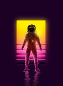 Neon Astronaut Spaceman Background Design