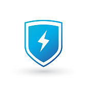 lightning and shield symbol protect vector logo template icon. Vector illustration isolated on white background.