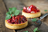 Cakes with fresh berries and mint leaves