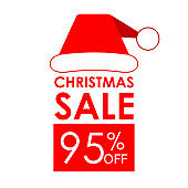 95% off sale. Christmas sale banner and discount design template with Santa Claus hat