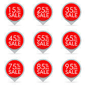 Sale and discount pointer or sticker set. 15,25,35,45,55,65,75,85,95 percent price off tag icon. Vector illustration.