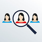 Customer target concept with magnifier and woman icon inside. HR looking for worker with magnifying glass. Vector illustration.