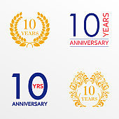 10 years anniversary set. Anniversary icon emblem or label collection. 10 years celebration and congratulation decoration element. Vector illustration.