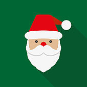 Santa Claus icon. Santa Claus face in flat design.  Christmas card template. Colorful vector illustration.