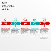 Timeline infographics template with 5 steps and arrows. Vector illustration.