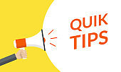 Quik tips announcement with hand is holding a megaphone or loud speaker. Banner for business with helpful idea or service solution. Vector illustration.