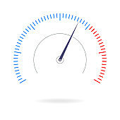 Speedometer icon. Gauge, measure or meter sign for speed test, download, loading interface. Infographics design element. Vector illustration.
