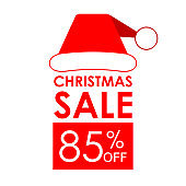 85% off sale. Christmas sale banner and discount design template with Santa Claus hat.