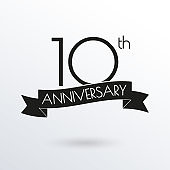 10 years anniversary logo with ribbon. 10th anniversary celebration label. Design element for birthday, invitation, wedding jubilee. Vector illustration.