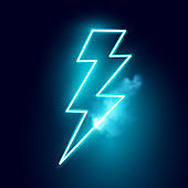 Neon Electric Lightning Bolt Vector