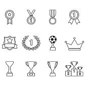 Trophy and awards outline icon set: laurel wreath, winning trophy cup, crown, medals, pedestal, badges and ribbons. Vector illustration isolated on white background.