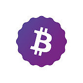 Bitcoin sign icon for internet money. Blockchain based secure cryptocurrency. Isolated vector illustration. Crypto currency symbol and coin image for using in web projects or mobile applications.