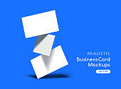 A Stack Of Floating Business Cards Vector