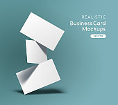 Floating Business Cards Mockup Vector