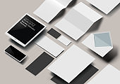 Vector Business Stationery 3D Effect Mockup